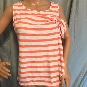 🔥Sale 3/$12 LOFT ORANGE AND WHITE SLEEVELESS TOP